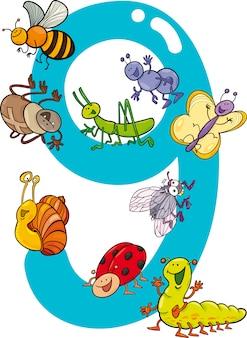 9および9匹の昆虫