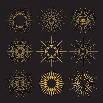 9幾何学的な形、光線のアールデコヴィンテージサンバーストコレクション。さまざまな形でビンテージサンバーストのセット。