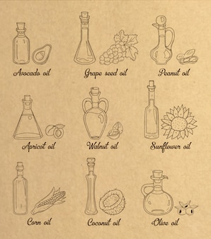 9 brown cooking oils in vintage sepia style.
