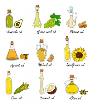 9 cooking oils in cute sketchy bottles