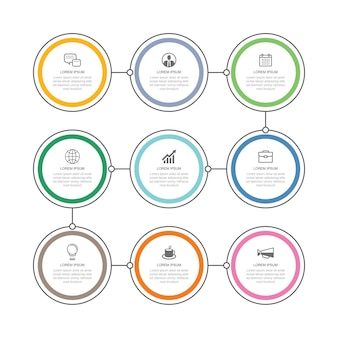 9 data infographics thin line circle timeline templatecan be used for infographics workflow layout