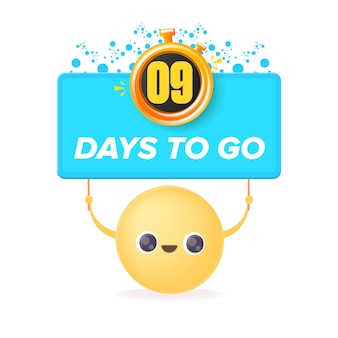 9 days to go banner design template with a smiley face holding countdown