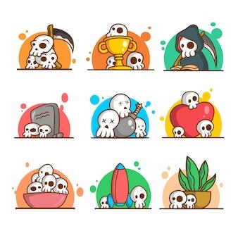 9 funny skull illustration