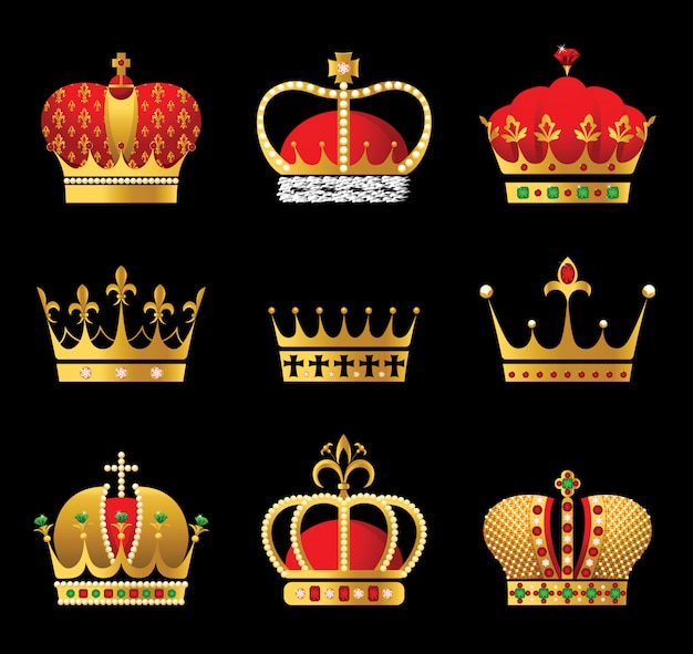 9 gold and red crown icons