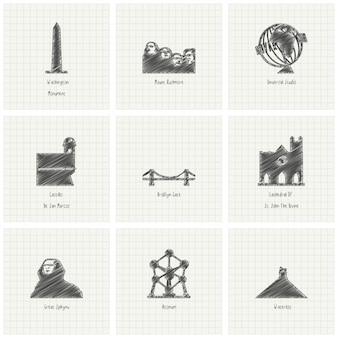 9 hand drawn monuments