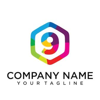 9 письмо логотип значок шестиугольник элемент шаблона дизайна