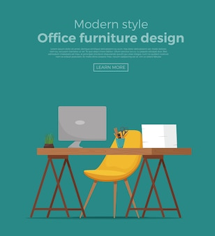 9.オフィスの職場のインテリア漫画のデザイン。椅子、コンピューター、プラント、ランプビジネスコンセプトのテーブル。デザイナー、フリーランサーワークステーションのカラフルなフラットスタイルのイラスト。