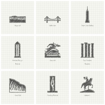 9 sketches of monuments