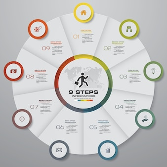 9 steps cycle chart infographics elements.