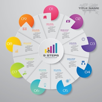 9 steps modern pie chart infographics elements.