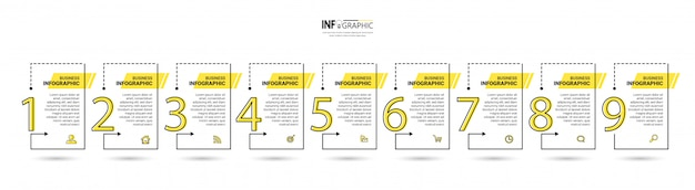 9 steps timeline infographics design template.