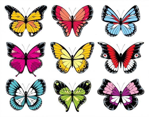 9 stylized butterflies