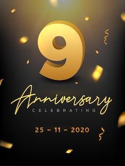 9 years anniversary celebration event. golden vector birthday or wedding party congratulation anniversary.