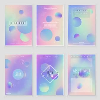 未来的なモダンなホログラフィックカバーセット。 90年代、80年代のレトロなスタイル。流行に敏感なスタイルのグラフィックの幾何学的なホログラフィック要素。虹色