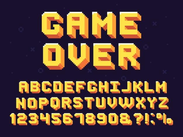 ピクセルゲームフォント。レトロなゲームテキスト、90年代のゲームのアルファベットと8ビットのコンピューターグラフィック文字セット