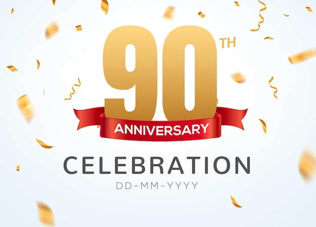 90 anniversary gold numbers with golden confetti. celebration 90th anniversary event party template.