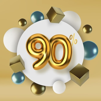 90 off discount promotion sale made of 3d gold text realistic spheres and cubes