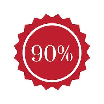 90 percent off badge vector
