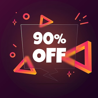 90% 할인. 텍스트가 90% 할인된 말풍선 배너입니다. 유리모피즘 스타일. 비즈니스, 마케팅 및 광고용. 격리 된 배경에 벡터입니다. eps 10.