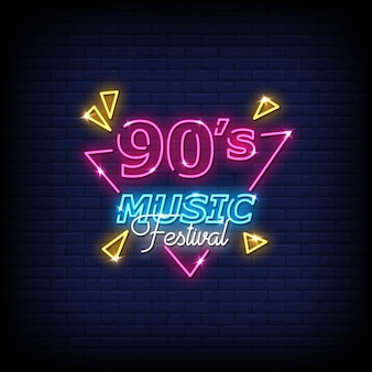 90's music festival neon signs style text vector