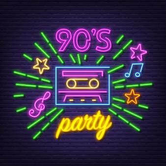 90's party neon symbol