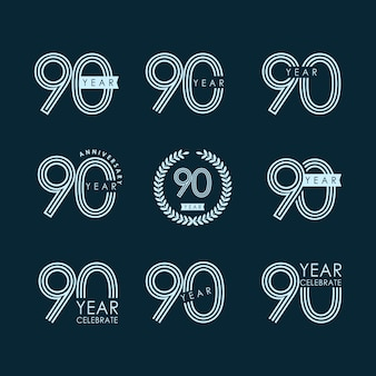 90 year anniversary set celebration vector template design