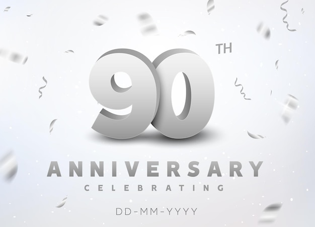 90 years silver number anniversary celebration event. anniversary banner ceremony design for 90 age.