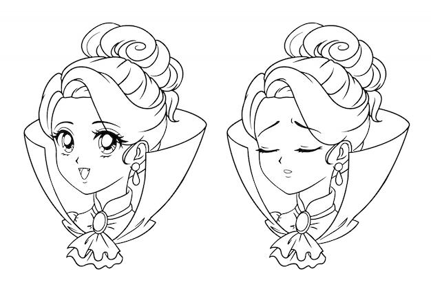 Симпатичные аниме вампир девушка портрет. два разных выражения: счастливое и грустное. ретро стиль аниме 90-х рисованной иллюстрации. изолированные на белом фоне
