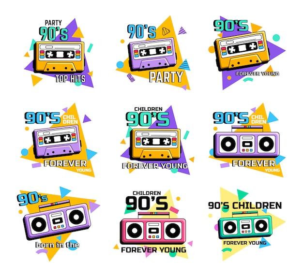 Музыка 90-х. иллюстрации. эмблемы старой музыки прошлого века. афиша музыкальных партийных хитов. ретро кассеты и магнитофон.
