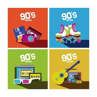 Набор элементов мультфильмов 90-х годов