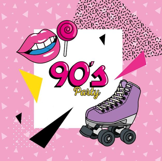 90年代のアートスタイルの要素を持つローラースケート