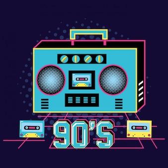 レトロな90年代のカセット付きラジオ