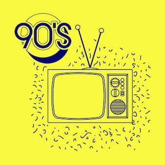 Этикетка 90-х с ретро-телевизором