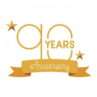 記念日のお祝いの紋章または記章の番号90