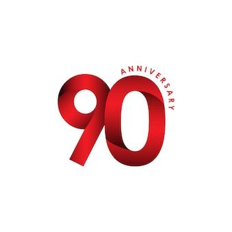 90周年記念ベクトルテンプレートデザインイラスト