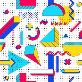 シームレスなメンフィスパターン。色とりどりのシンプルな幾何学的図形を持つ抽象90年代トレンド要素。三角形、円、線の形状
