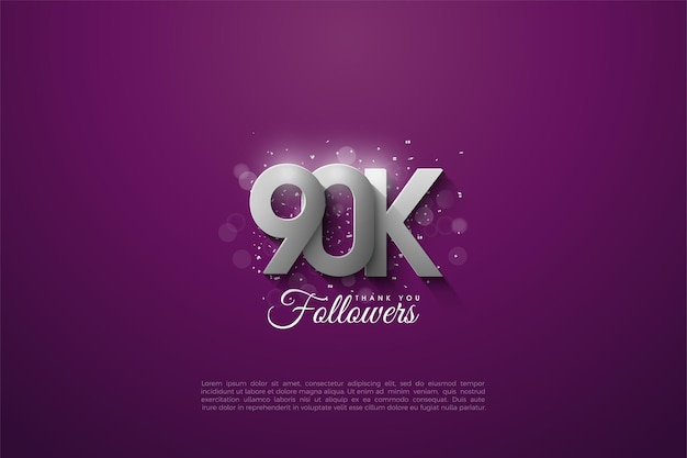90k followers with -dimensional silver numbers on purple background.