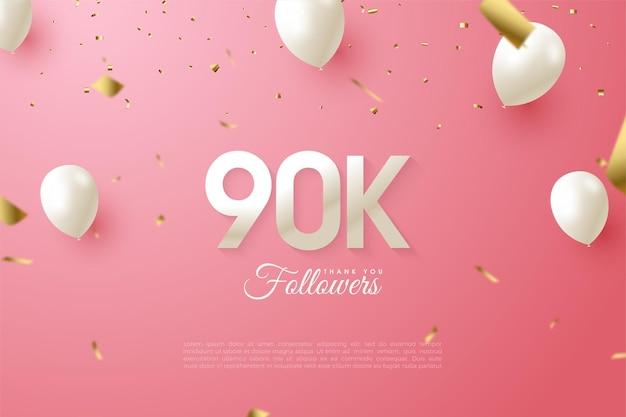 90 тысяч подписчиков с числами и белыми воздушными шарами.