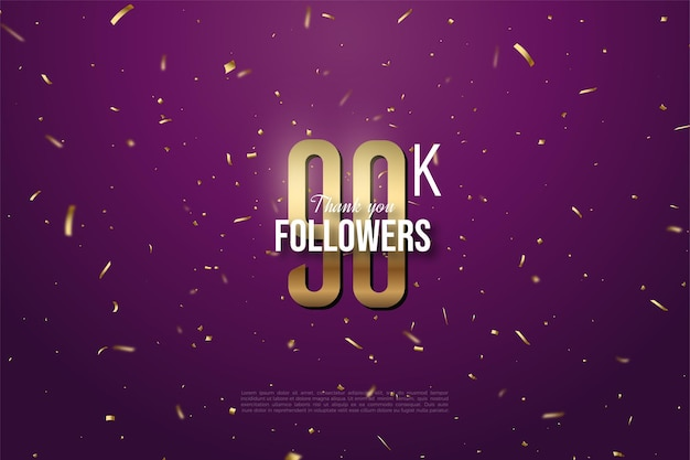 90k followers with numbers and gold spots.