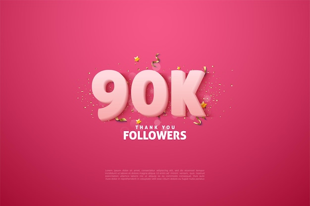 90k followers with soft white numbers on pink background.