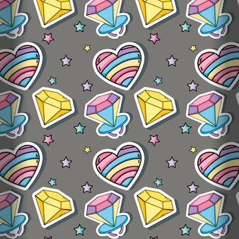 90s background cartoons heart and diamonds