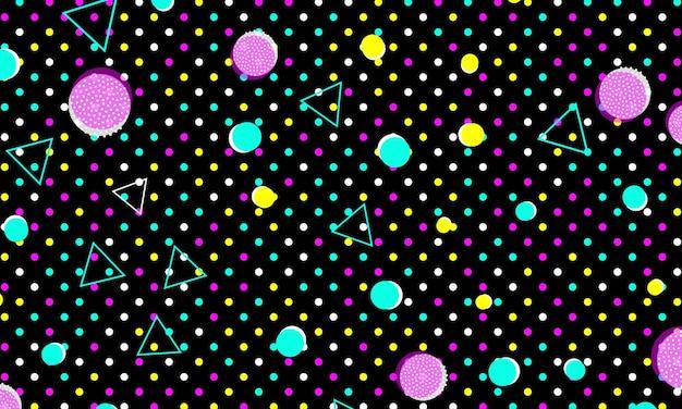 Дизайн 90-х. фон геометрических фигур. мемфисский узор. векторные иллюстрации. хипстерский стиль 80-90-х годов. абстрактный красочный фон в стиле фанк.