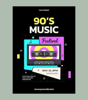 Дизайн шаблона плаката музыкального фестиваля 90-х