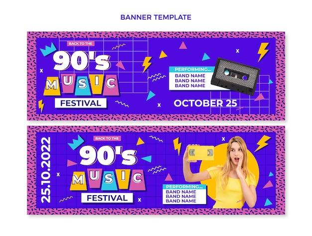 90s nostalgic music festival horizontal banners