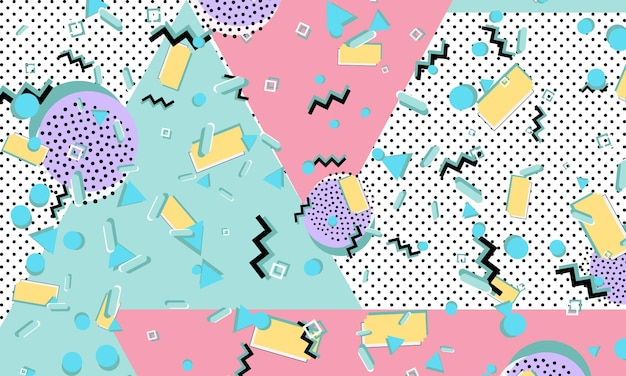 90年代のパターン。幾何学模様。ヒップスタースタイル