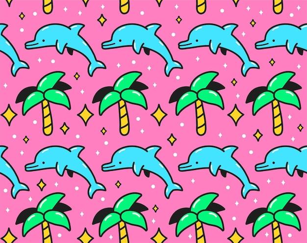 90년대 핑크 복고풍 빈티지 야자수와 점프 돌고래 원활한 패턴. 벡터 만화 낙서 캐릭터 그림 벽지 디자인. 90년대, 80년대, 돌고래, 포스터용 팜 프린트, 티셔츠 원활한 패턴 개념