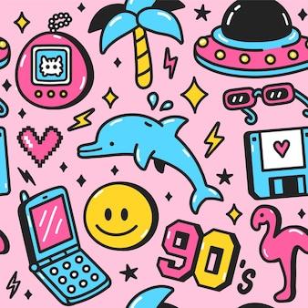 90년대 복고풍 빈티지 십대 스타일의 완벽 한 패턴입니다. 벡터 만화 낙서 캐릭터 그림 벽지 디자인. 90년대,1990년,십대,돌고래,야자수,포스터를 위한 미소 팩 인쇄,티셔츠 원활한 패턴 개념