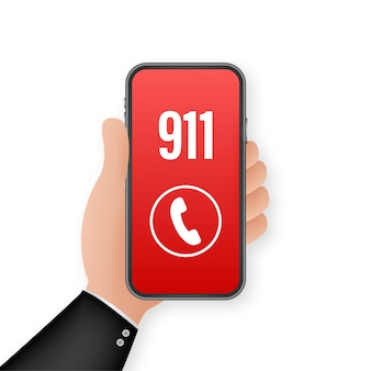 911 smartphone in  style. call icon . hand holding smartphone. first aid. finger touch screen.   illustration