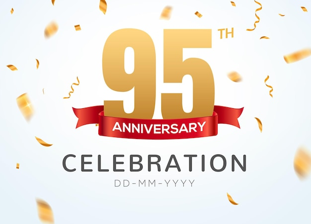 95 anniversary gold numbers with golden confetti. celebration 95th anniversary event party template.