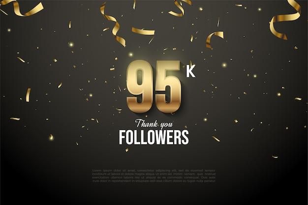 95 тысяч подписчиков с цифрами заглушены золотой лентой